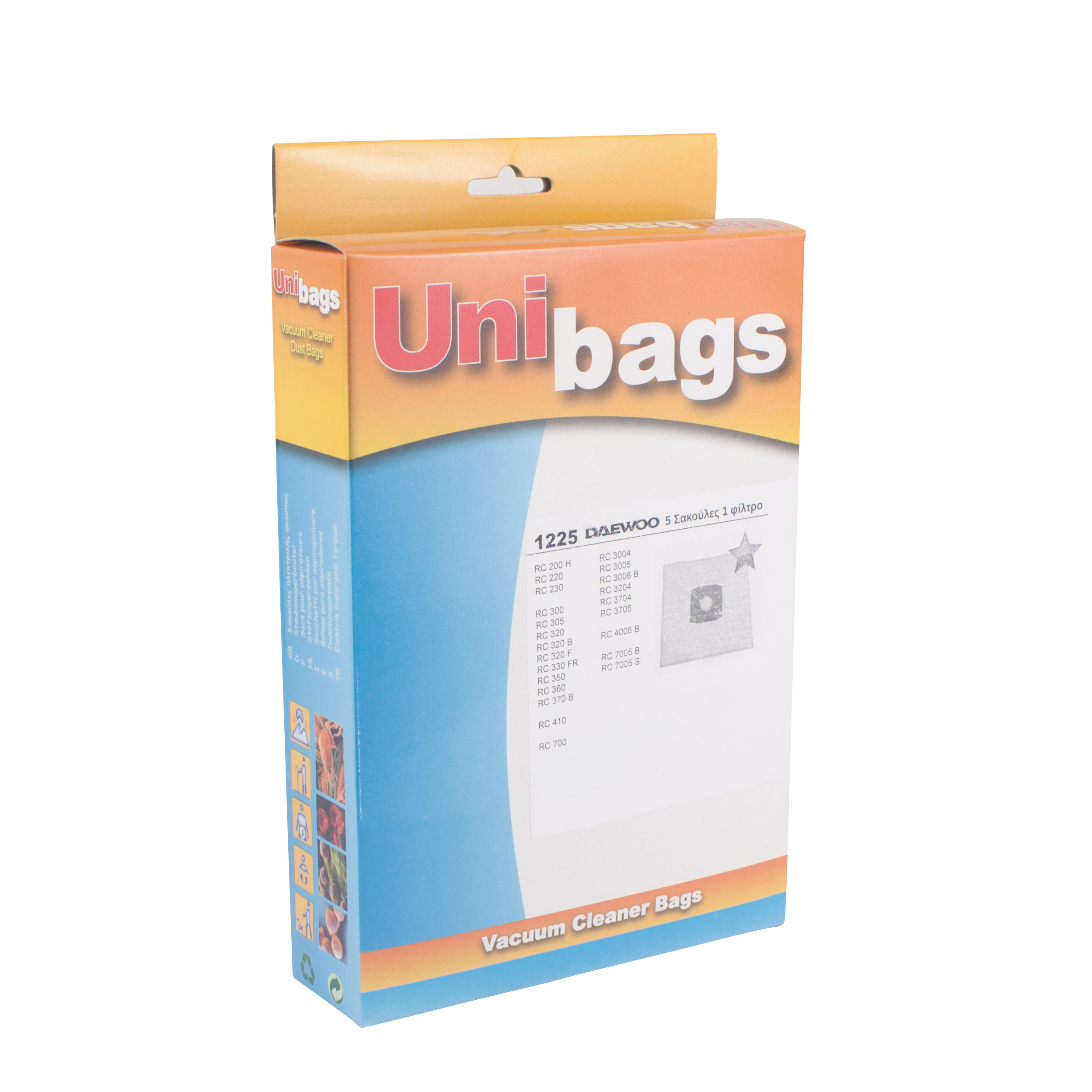 Vacuum Cleaner Bags +1 filter suitable for DAEWOO, FILTERCLEAN, HQ, MALAG,  SWIRL  Primato 1225