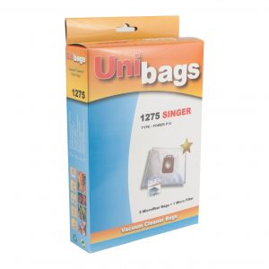 Embalaje: 5 bolsas + 1 filtro para aspiradoras NILFISK, SINGER - Unibags 1275