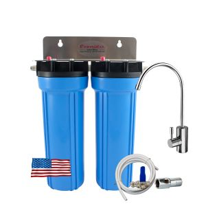 Under-the-sink double water filter with 2 activated carbons made in the USA Primato USA2GB14