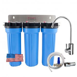 Under-the-sink triple water filter with 2 activated carbons made in the USA Primato USA3GB14