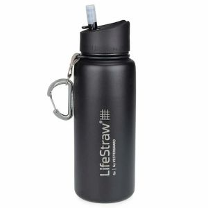 LifeStraw® GO Stainless Steel BLACK 2-stage survival water filter with thermal insulation