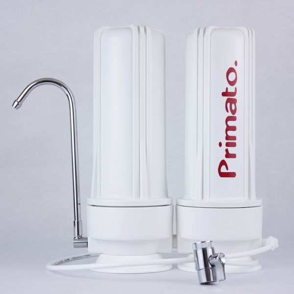 Double countertop water filter with activated carbon block - made in USA