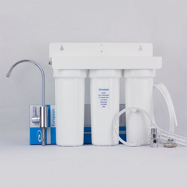 PENTEK 1/4 triple water filter with deluxe faucet and carbon blocks - made in USA