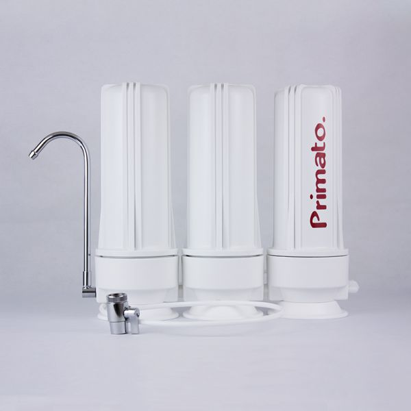 Triple water filter with carbon block filters - made in USA
