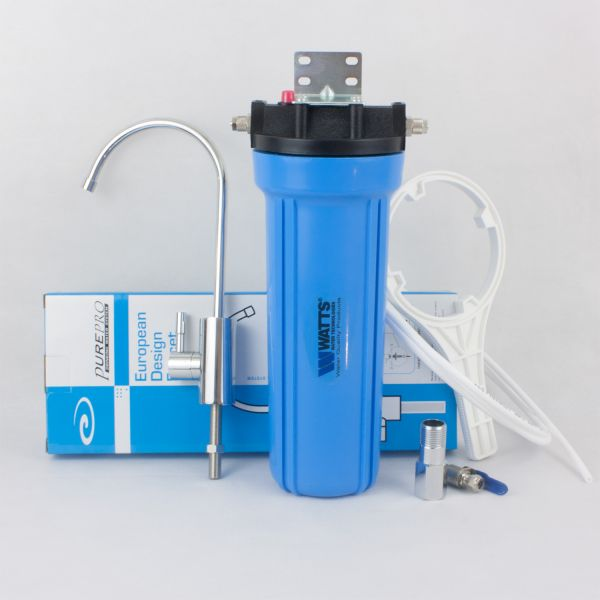 WATTS 1/4 single water filter with deluxe faucet and coconut carbon block