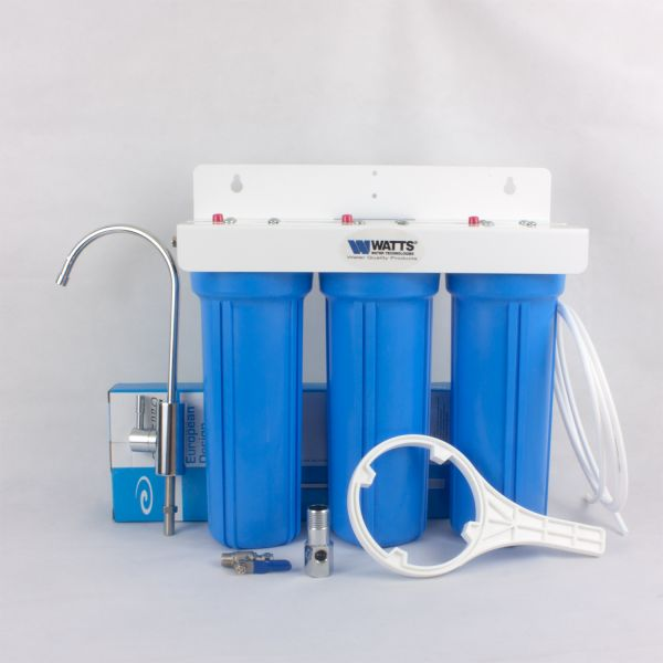 WATTS 1/4 triple water filter with deluxe tap and coconut carbon blocks