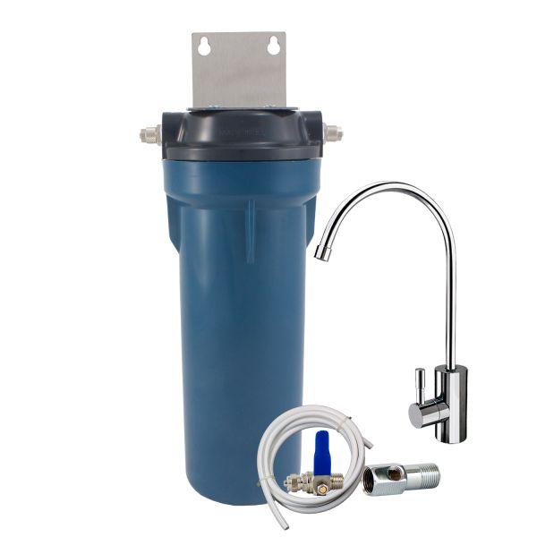 Φίλτρο νερού κάτω πάγκου με συμπαγή ενεργό άνθρακα made in USA και βρύση DELUXE Primato Blue GRSKGUC1GB14