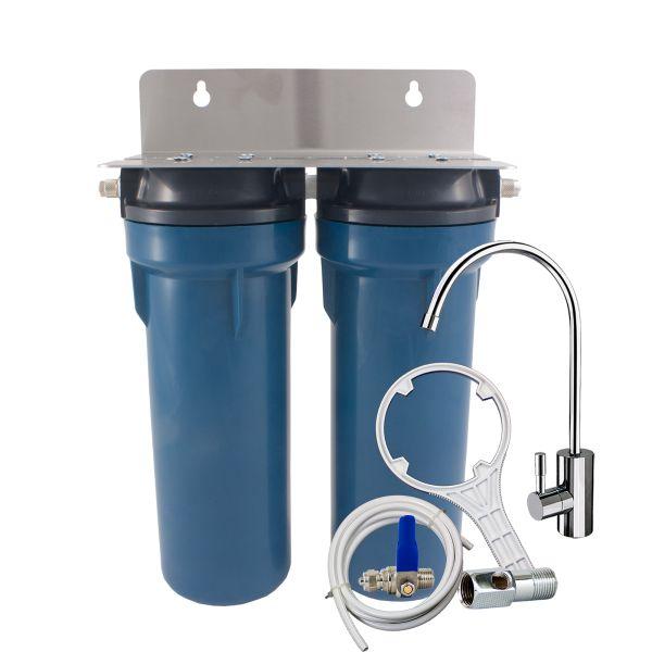 Filtro de agua doble PRIMATO BLUE GRSKGUC2GB14 con grifo de lujo y bloque de carbon - hecho en Estados Unidos