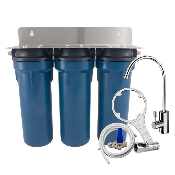 PRIMATO BLUE GRSKGUC3GB14 water filter with deluxe faucet and carbon blocks - made in USA