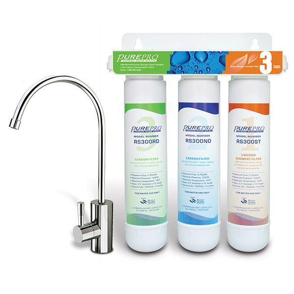 Dreifacher Untertisch Wasserfilter mit Schnellwechselsystem Pure Pro RS 3000