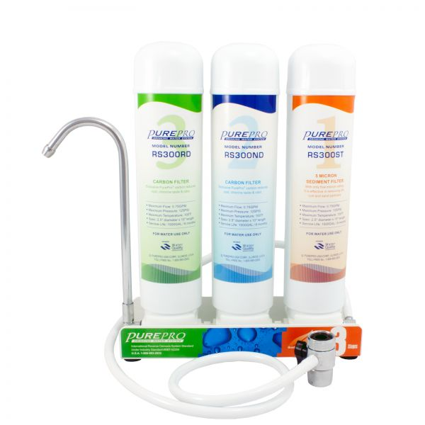 Countertop water filter with Quick Change mechanism. Pure Pro CT3000