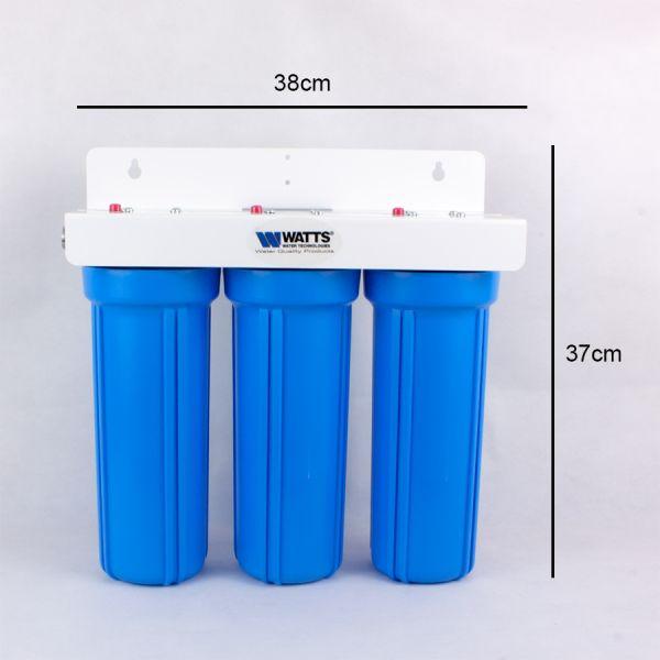 Dreifacher Untertisch Wasserfilter Watts mit Aktivkohle hergestellt in USA